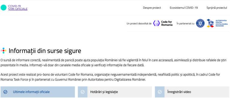 A fost lansată platforma online COVID-19 Știri Oficiale