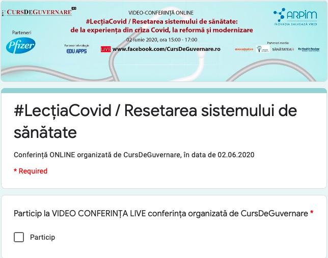 Înscrieri deschise pentru video conferința online#LecțiaCovid / Resetarea sistemului de sănătate