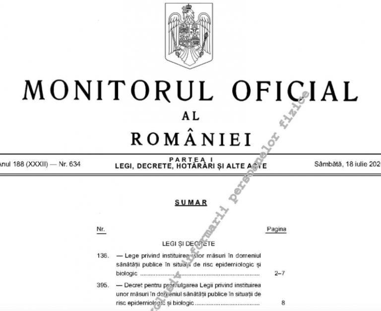 Legea carantinei și izolării intră în vigoare de marți; a fost publicată în Monitorul Oficial