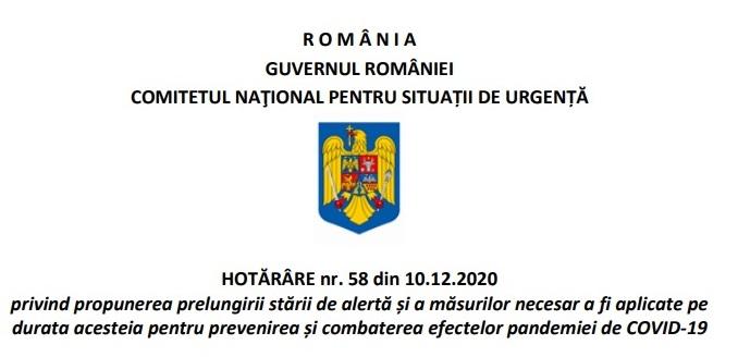 Textul Hotărârii numărul 58 adoptată de Comitetul Național pentru Situații de Urgență