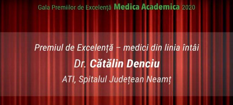 """Medicul erou Cătălin Denciu, premiat în cadrul Galei Premiilor de Excelență """"Medica Academica"""""""
