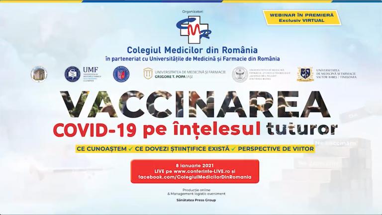 Vaccinarea COVID-19 pe înțelesul tuturor! Un webinar în premieră