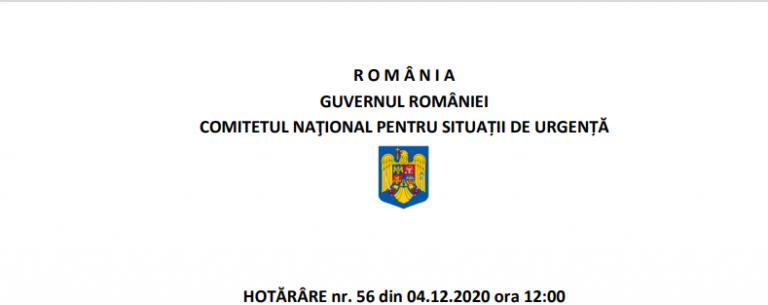 Ce prevede Hotărârea nr. 56 a Comitetului Naţional pentru Situaţii de Urgenţă