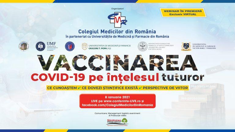 """Conferința """"Vaccinarea COVID-19 pe înțelesul tuturor"""", urmărită live de aproximativ 40.000 de persoane"""
