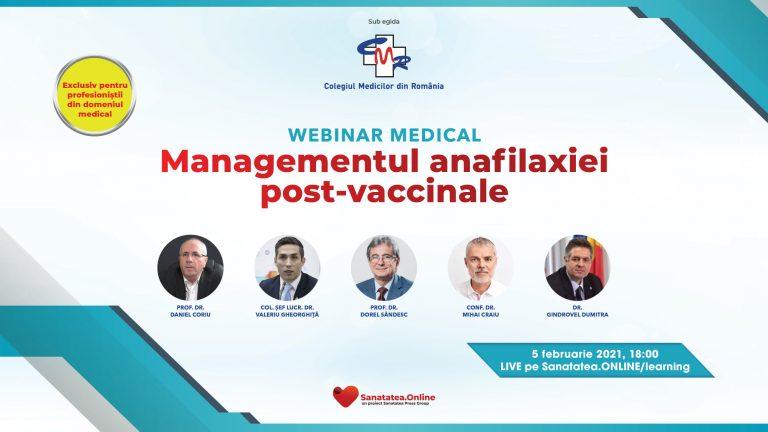 """Managementul anafilaxiei post-vaccinale"", webinar medical organizat de CMR"