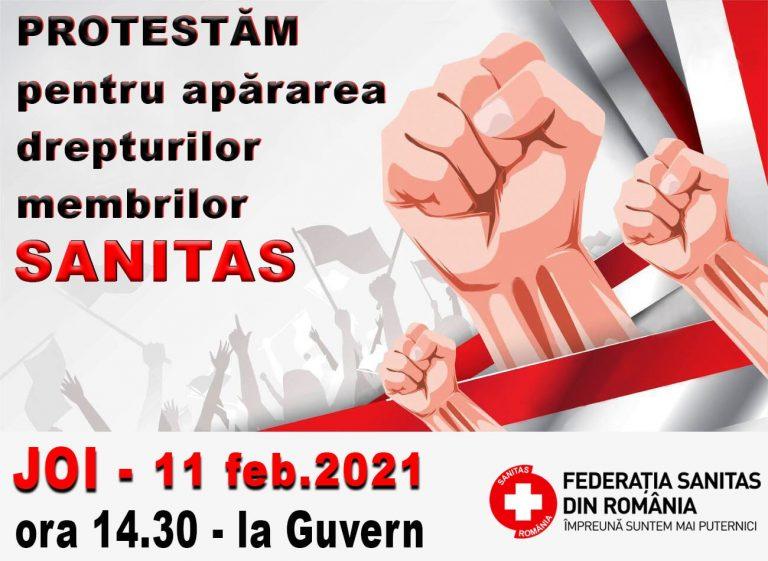 Federația Sanitas pichetează joi Guvernul României
