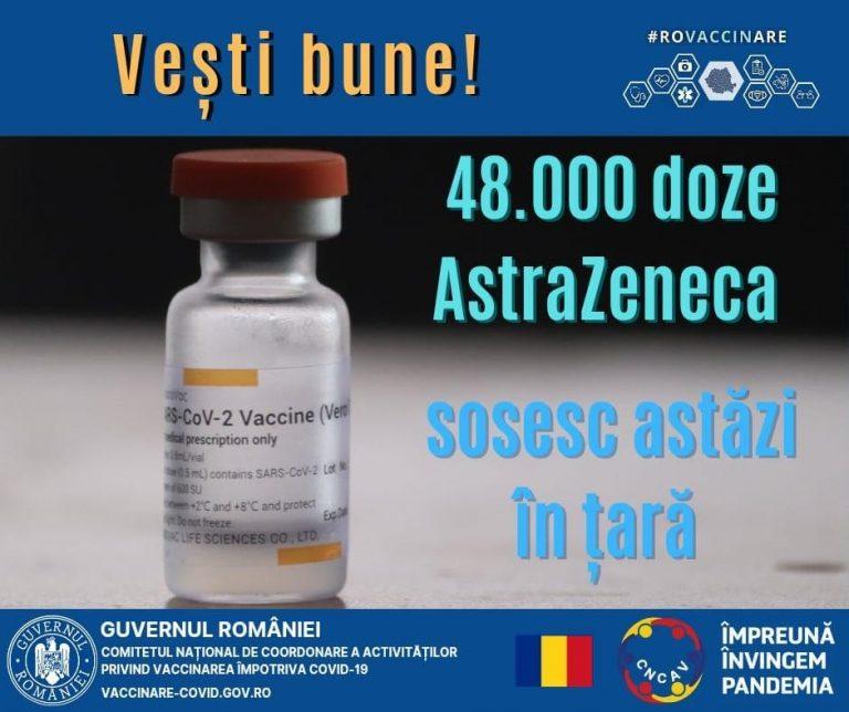 O nouă tranșă de vaccin AstraZeneca sosește în țară